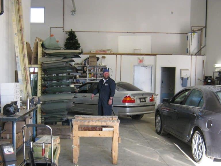 Ervin Penner in back of shop